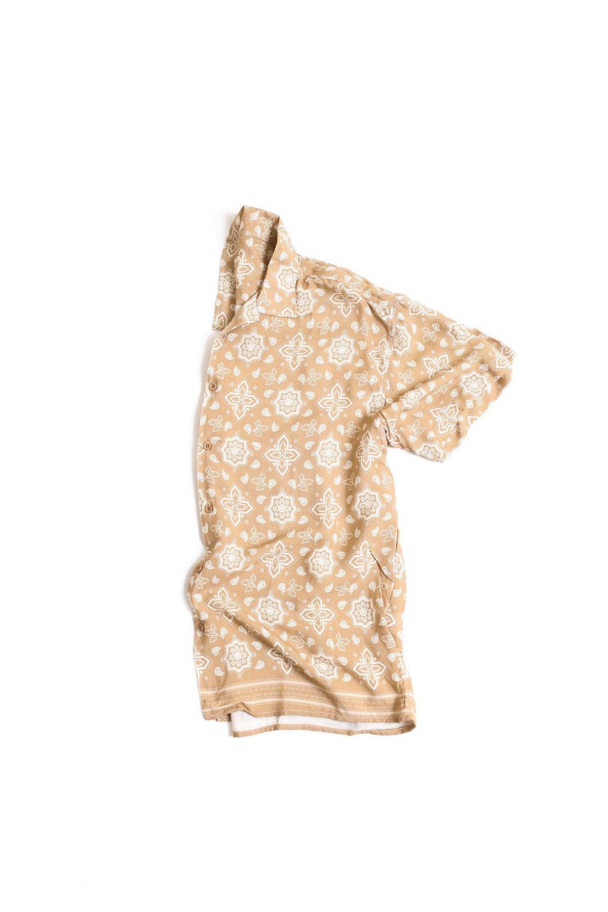Kahverengi Transfer Baskılı Desenli Gömlek