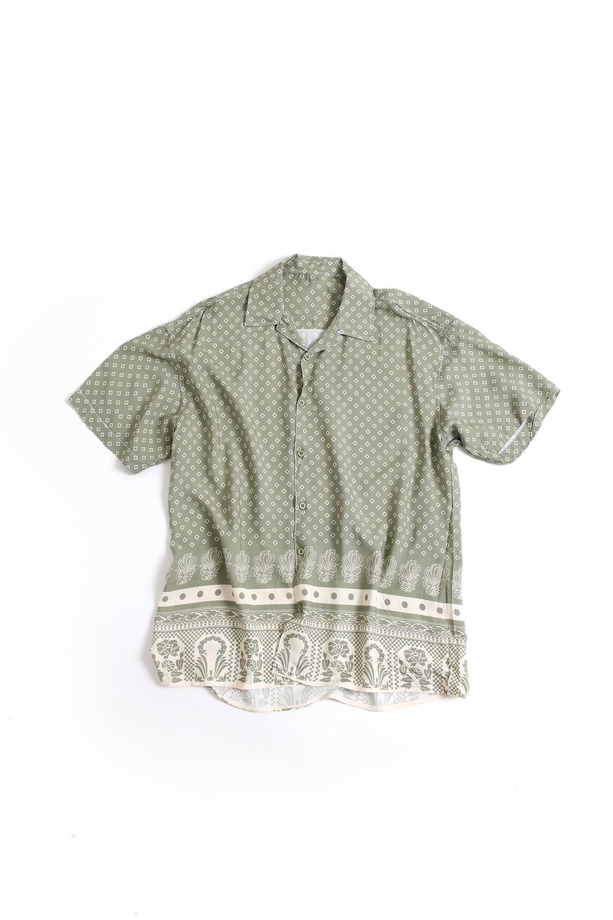 Yeşil Kare Desenli Transfer Baskılı Gömlek