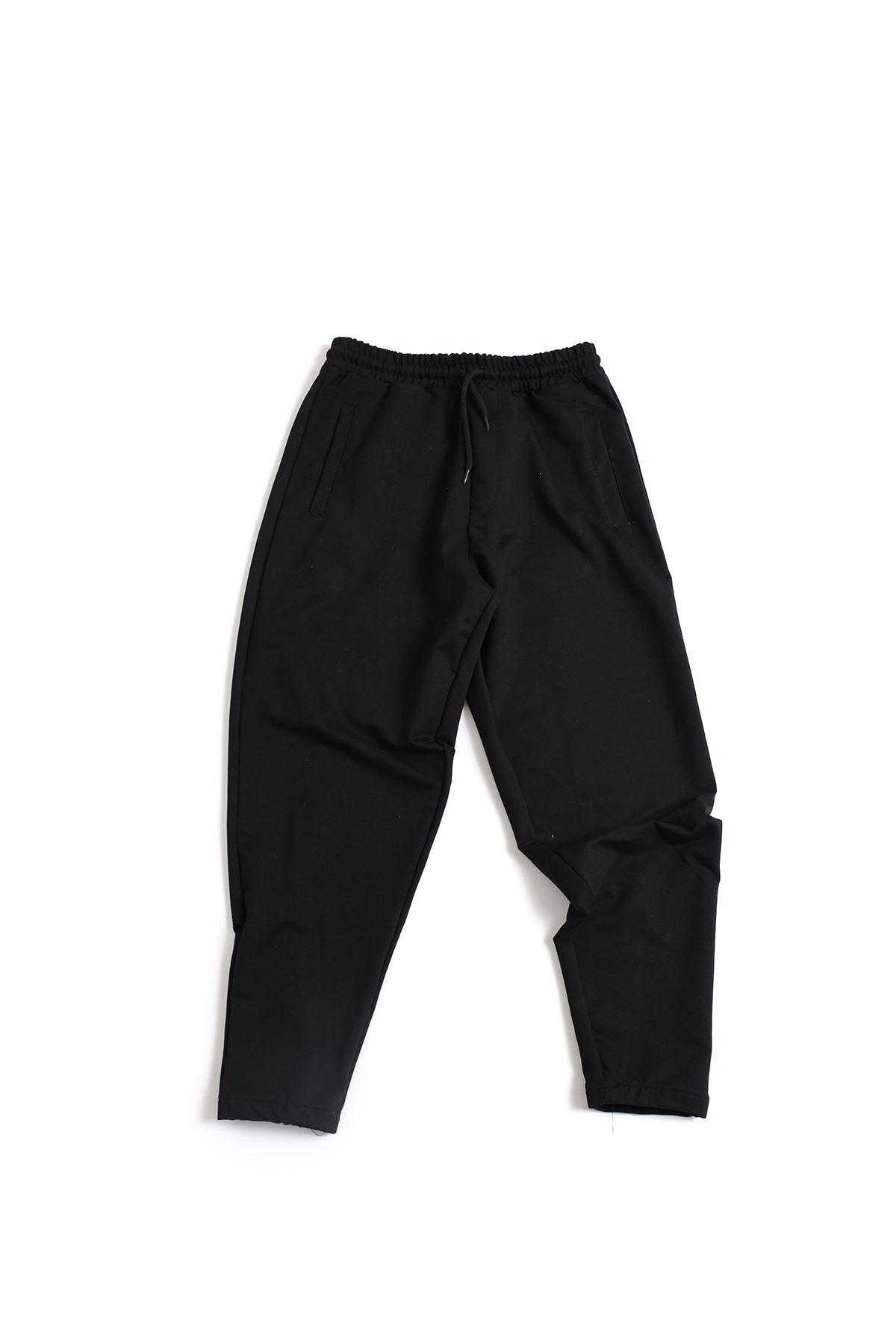 Siyah Pamuklu Jogger Pantolon