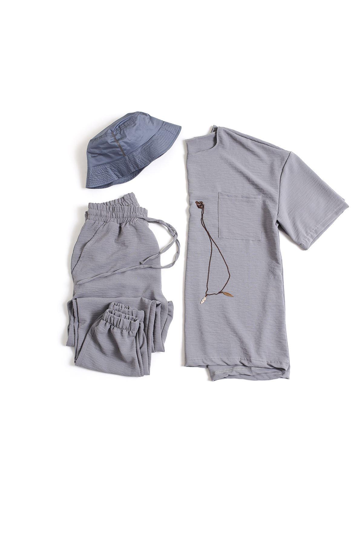 Gri Keten T-Shirt Kombin