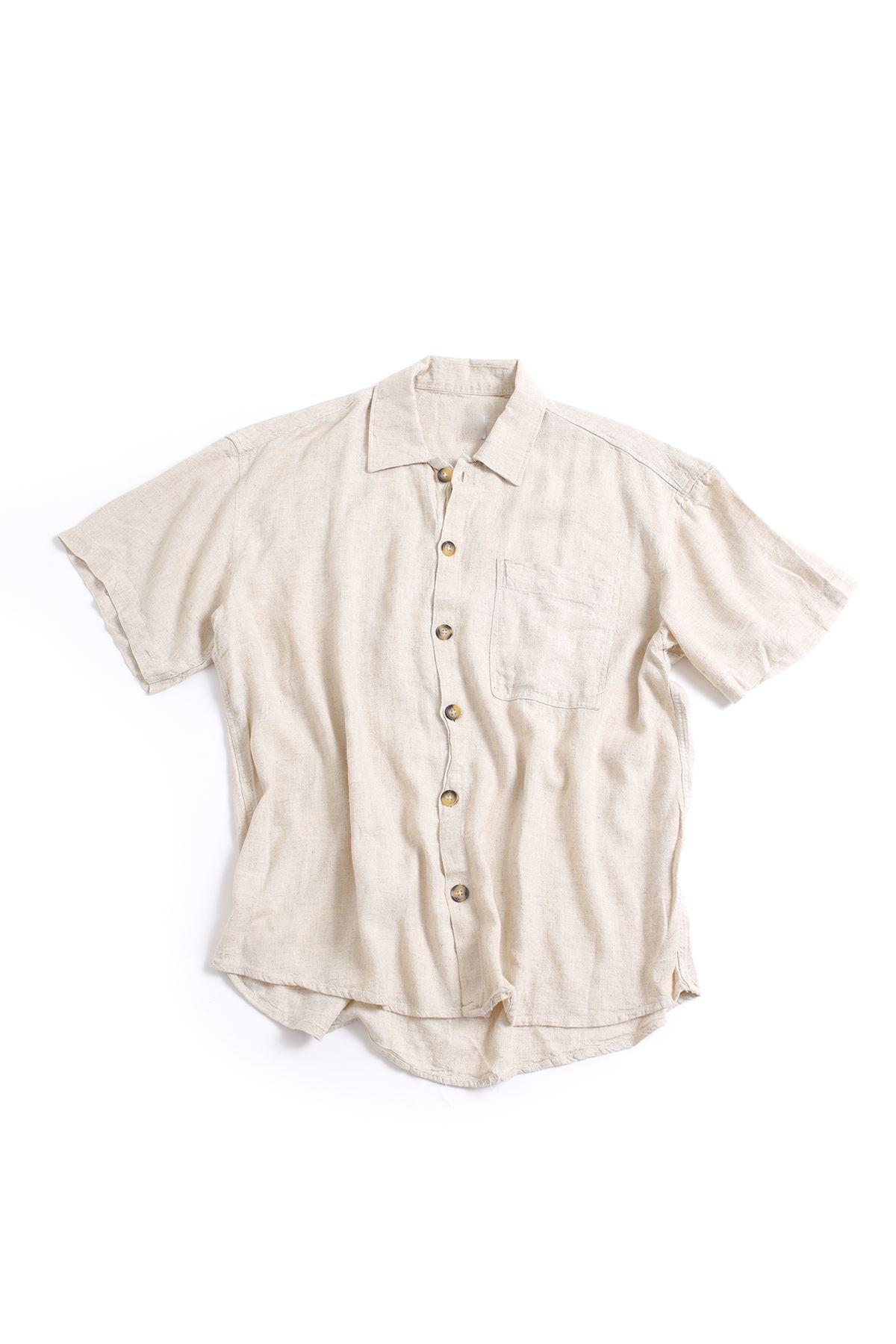 Kısa Kollu Bej Keten Gömlek