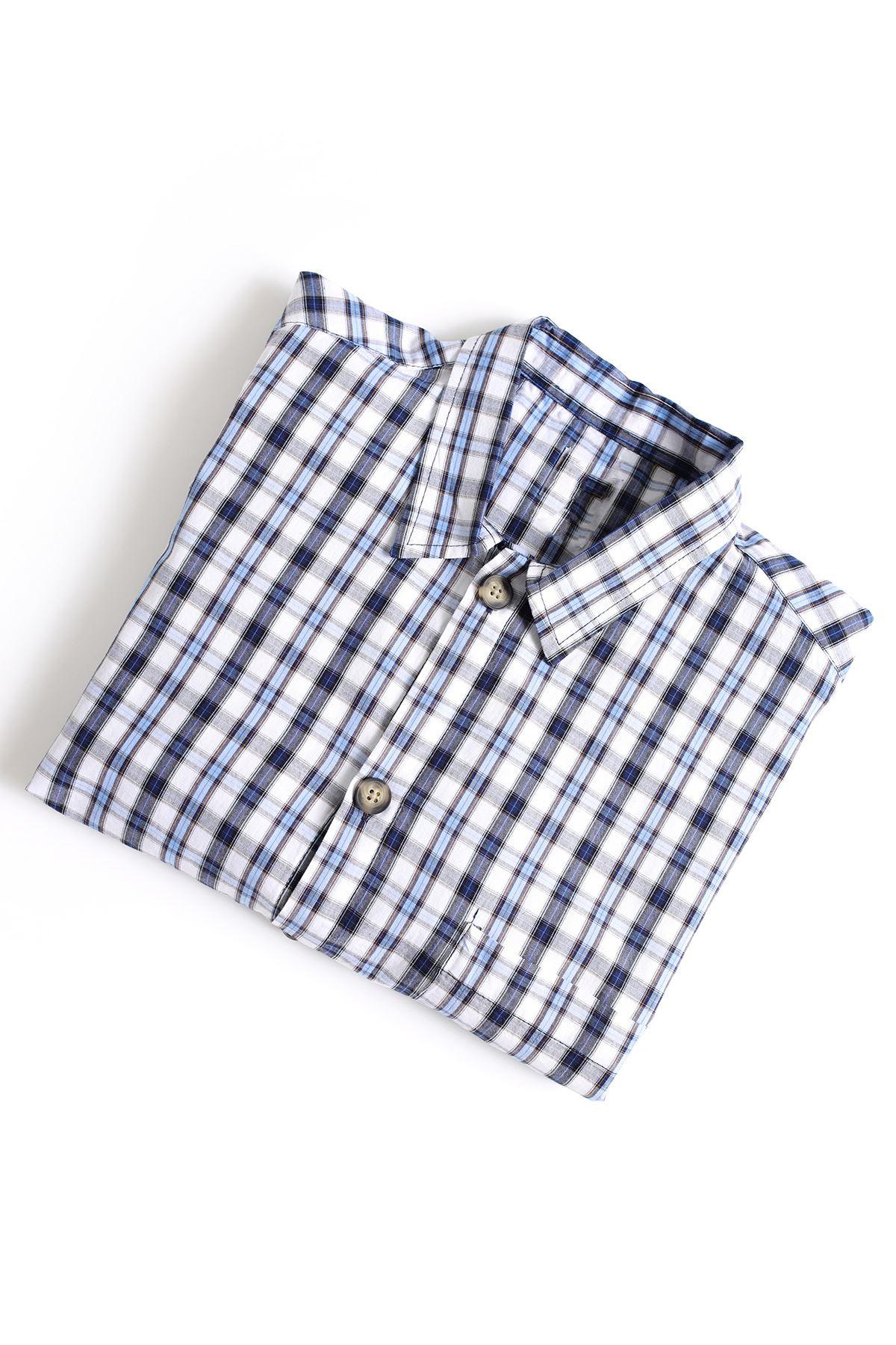Mavi Beyaz İndigo Gömlek