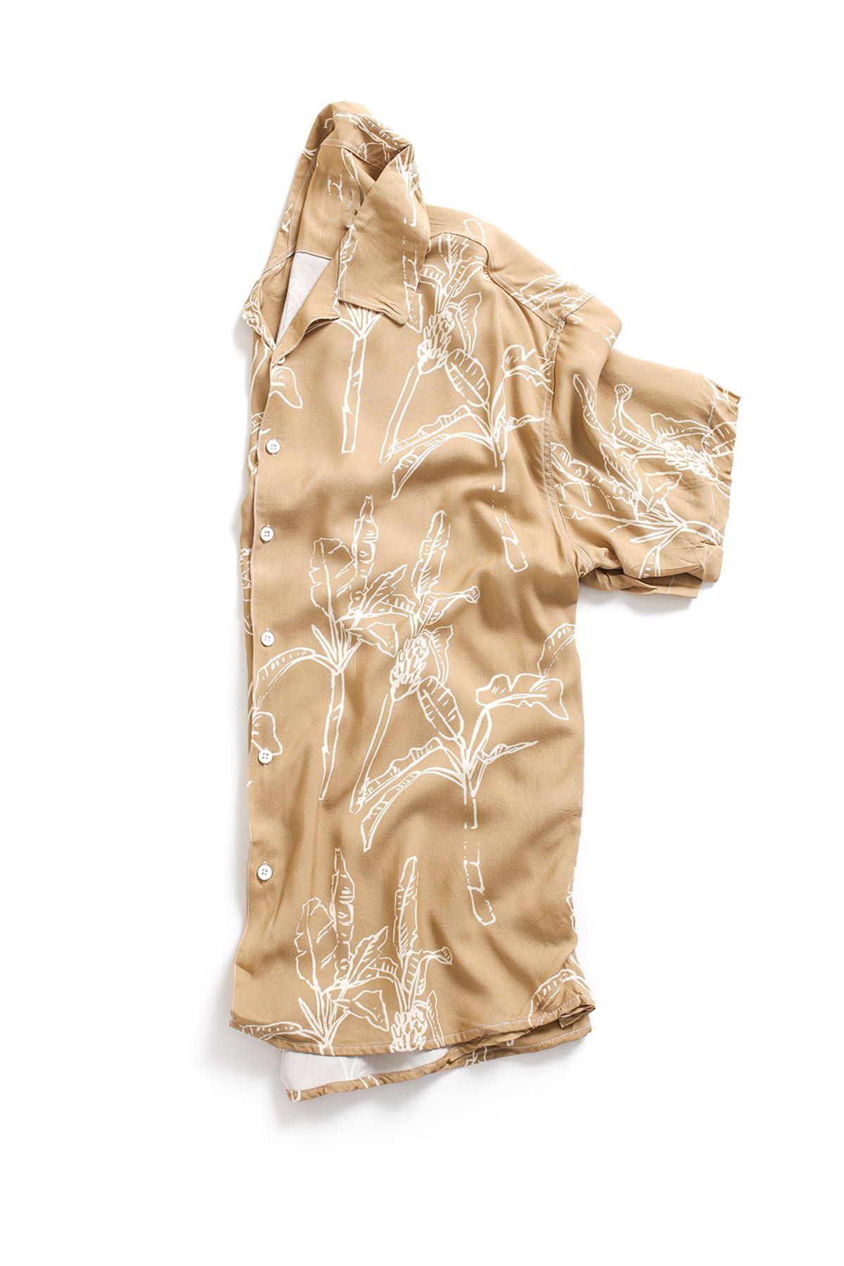 Kahverengi Yaprak Desenli Transfer Baskılı Gömlek