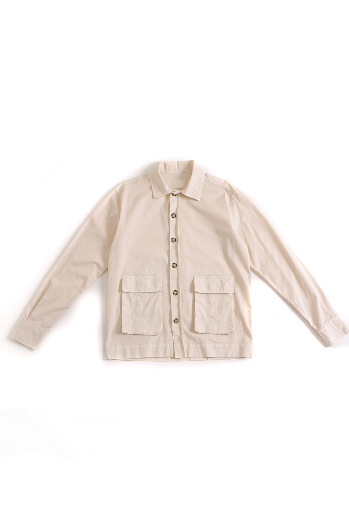 Bej Oversize Kapaklı Gömlek