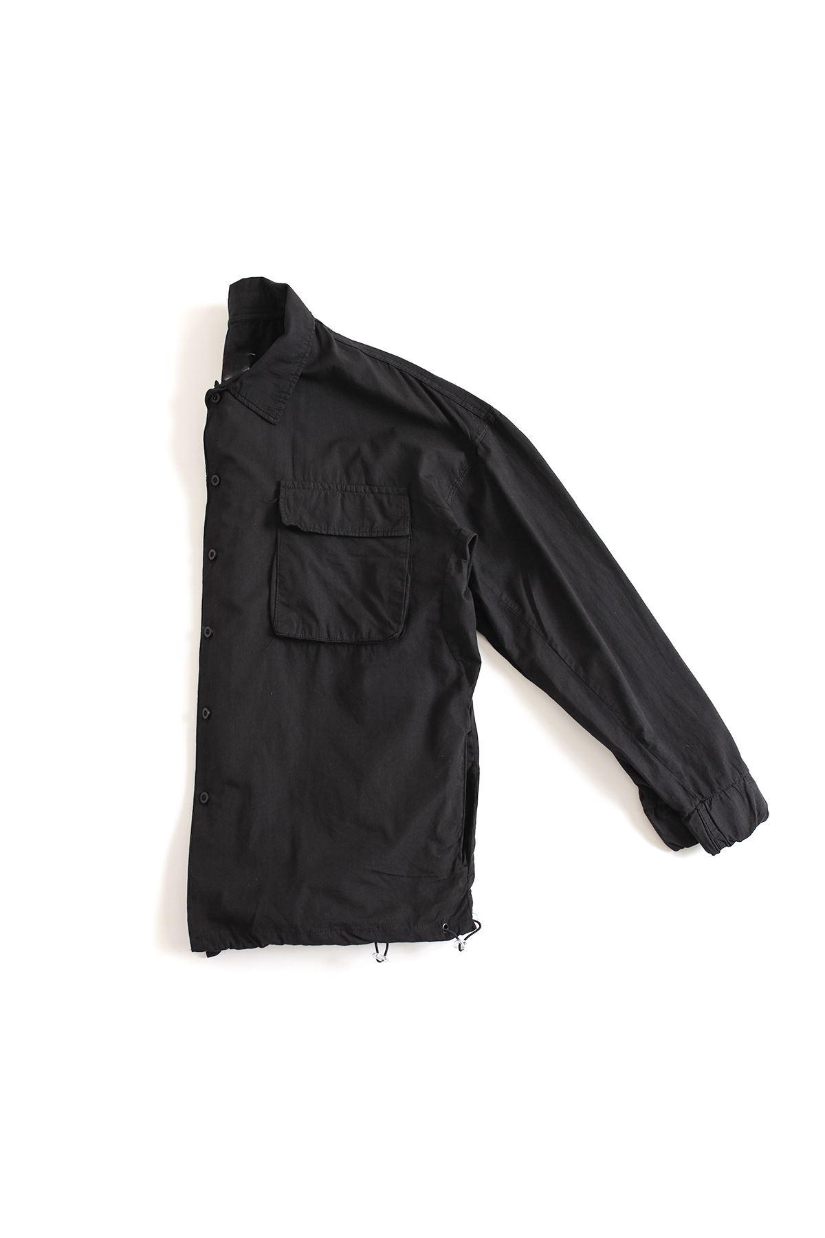 Siyah Oversize Kapaklı Gömlek