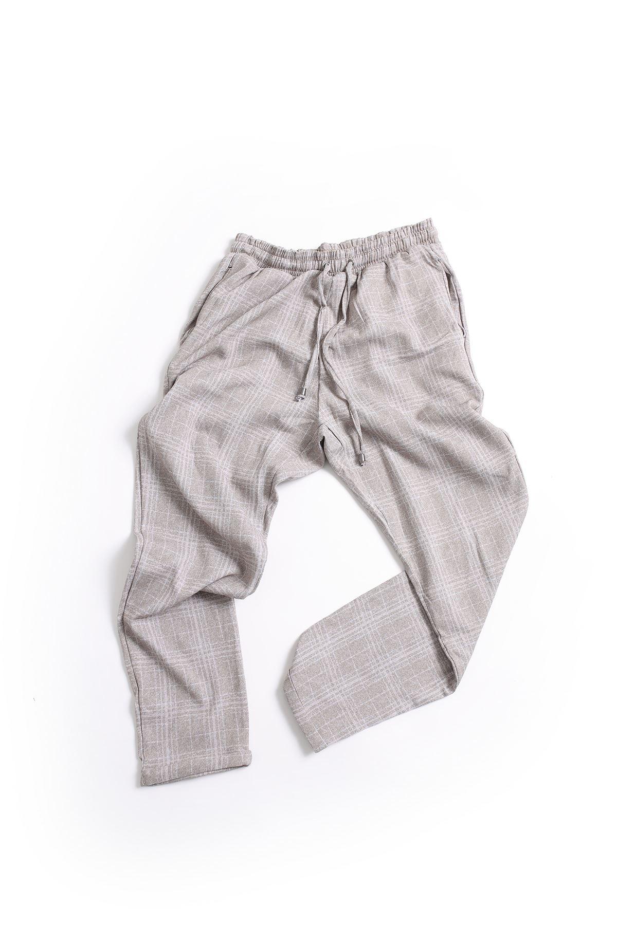 Düz Paça Beyaz Çizgili Kahve Klasik Jogger Pantolon