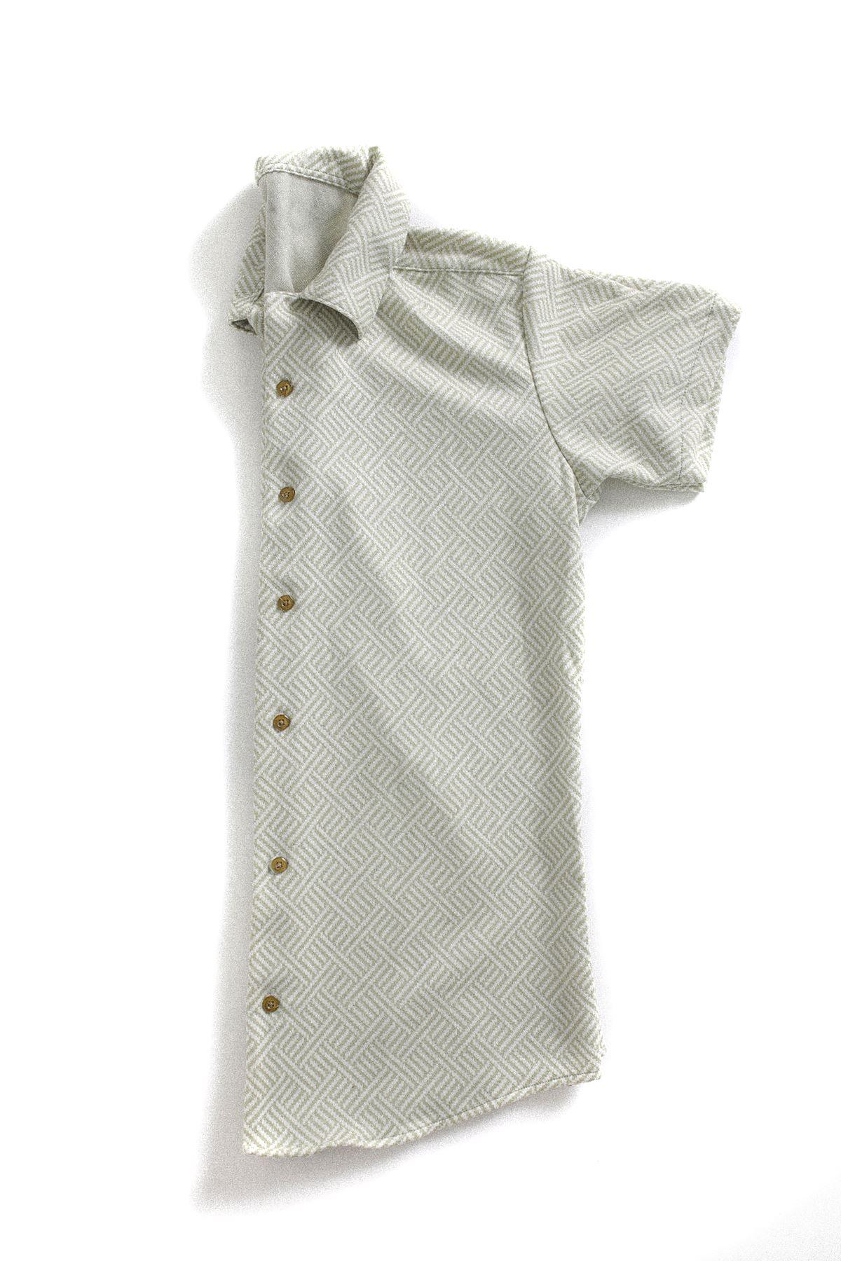 Yeşil Beyaz Triko Gömlek