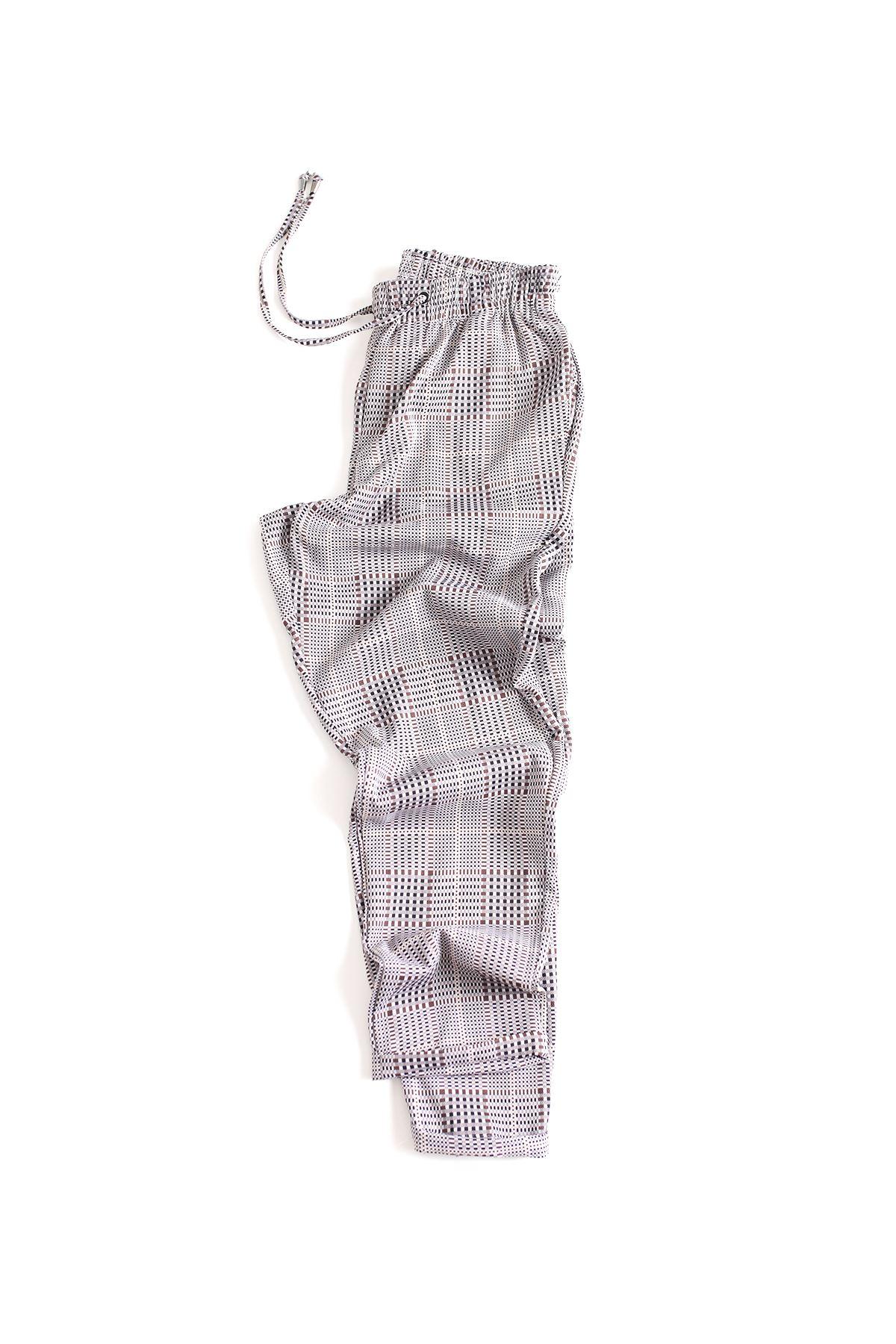 Düz Paça Kareli Kahve Klasik Jogger Pantolon
