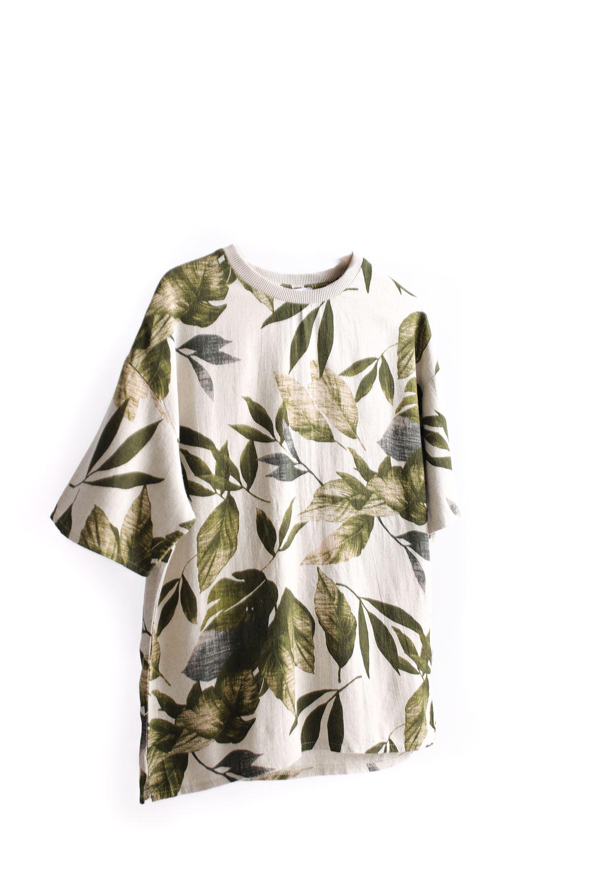 Yeşil Yaprak Desenli Keten T-Shirt