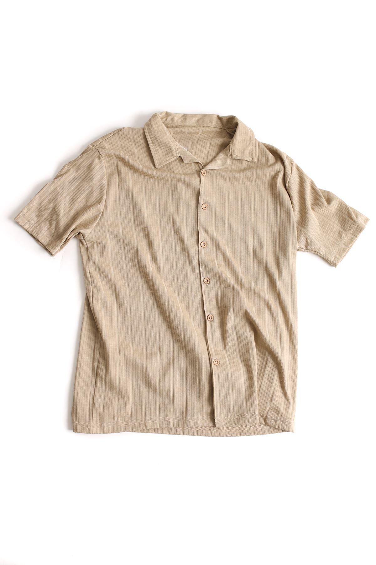 Bej Regular Pamuklu Triko Gömlek