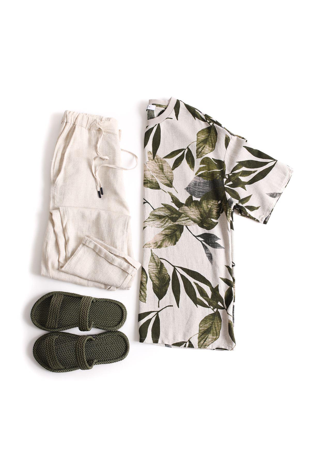 Yeşil Yaprak Desenli Keten T-Shirt Klasik Bej Keten Jogger Kombin