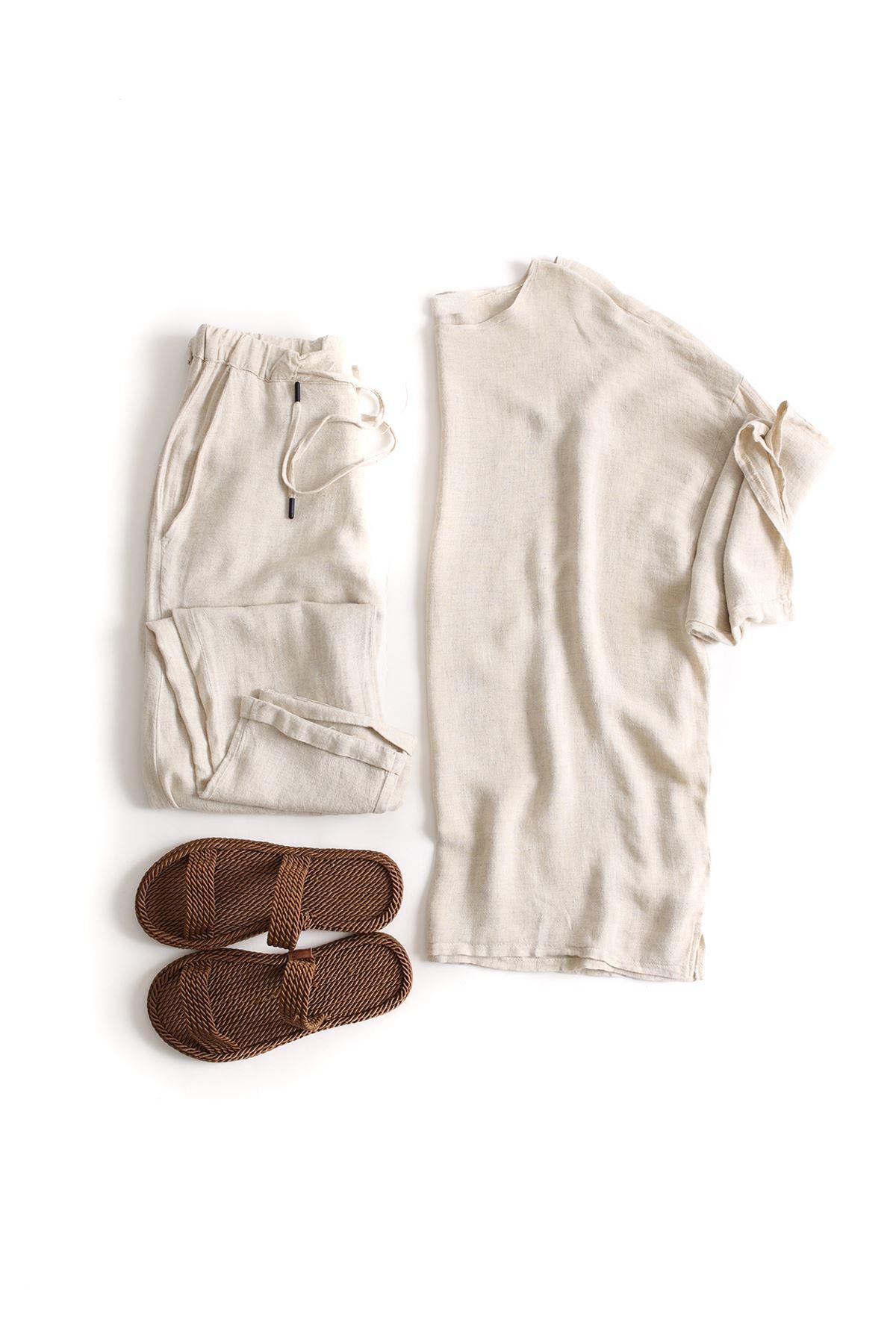Fakir Kol Oversize Bej Keten T-Shirt Klasik Bej Keten Jogger Kombin