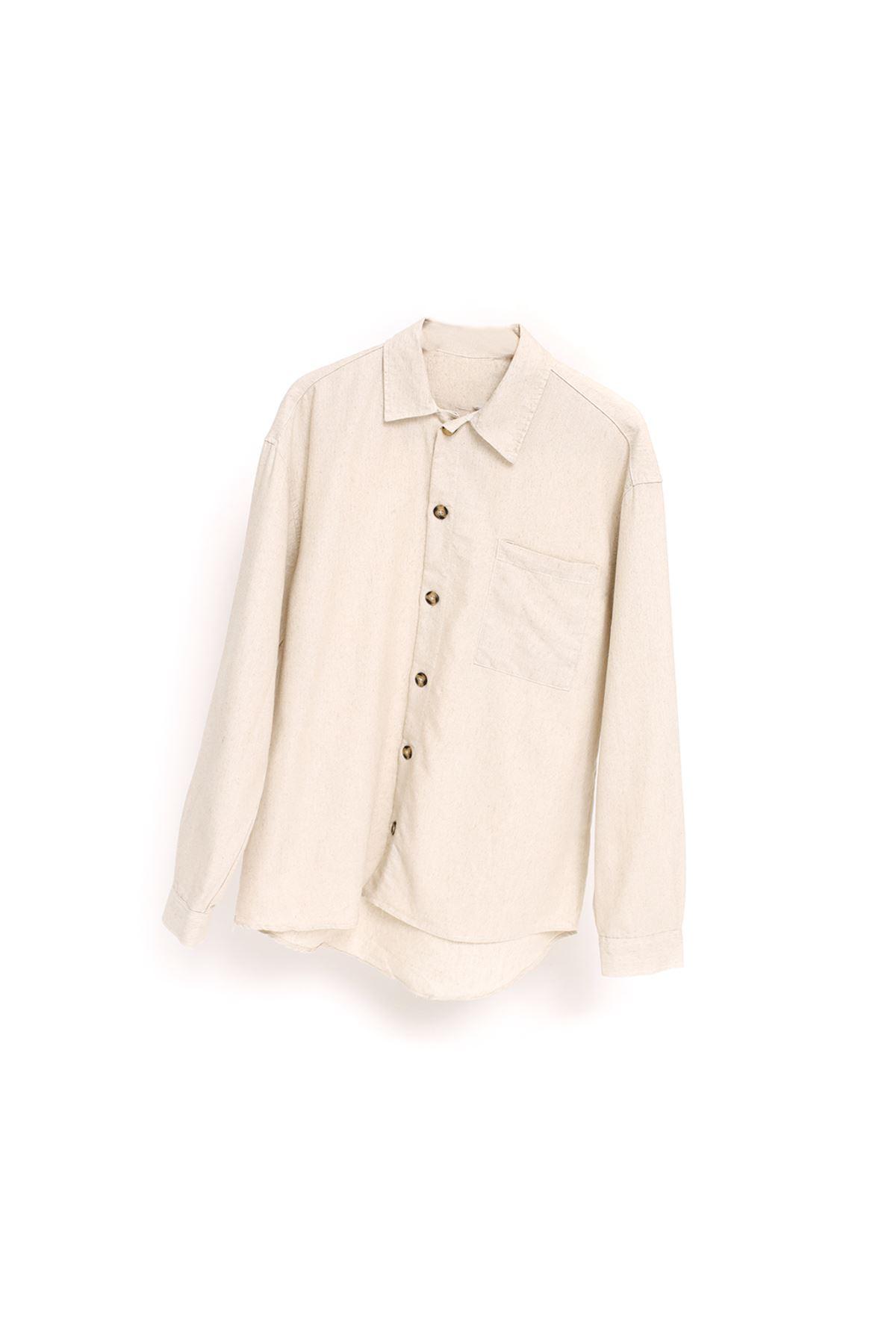 Bej Keten Uzun Kollu Gömlek