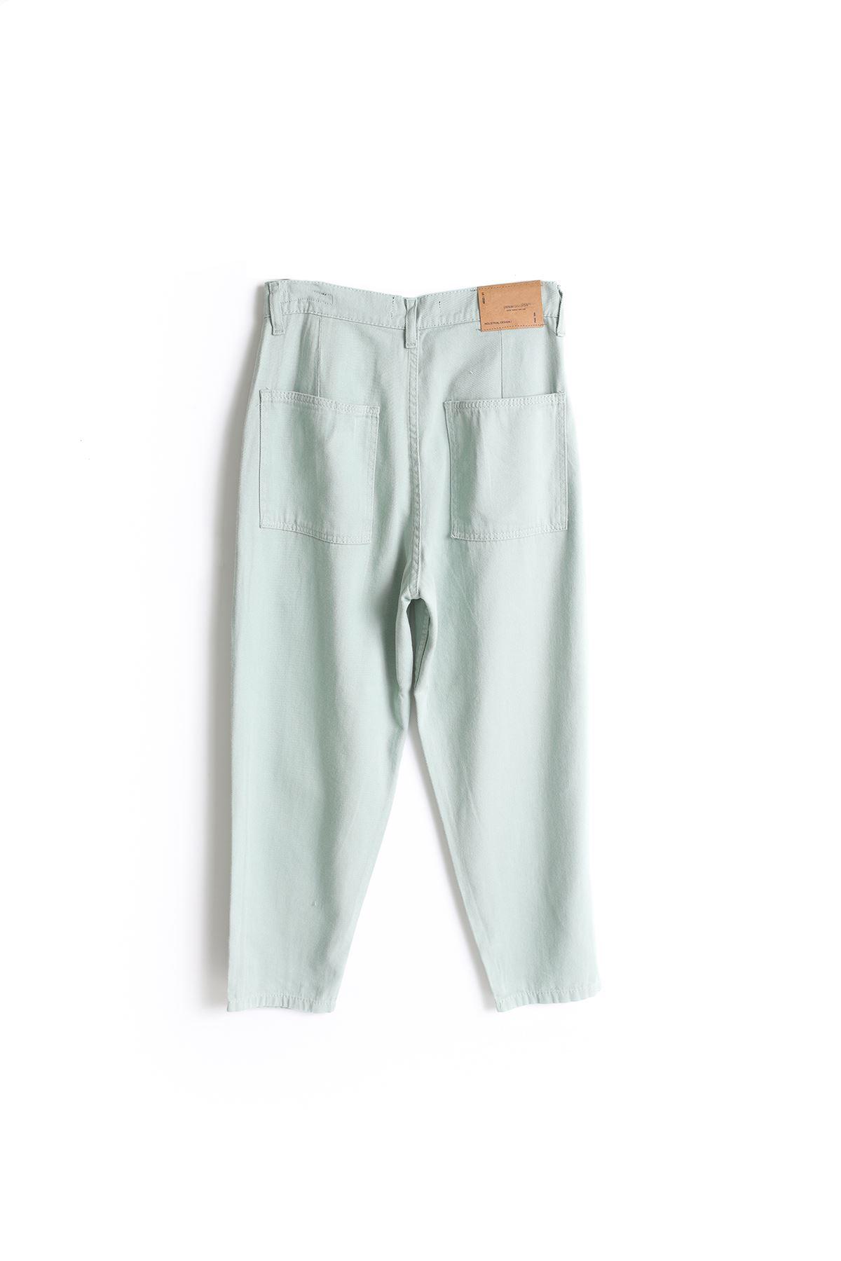 Deniz Yeşili Boyfriend Kot Pantolon