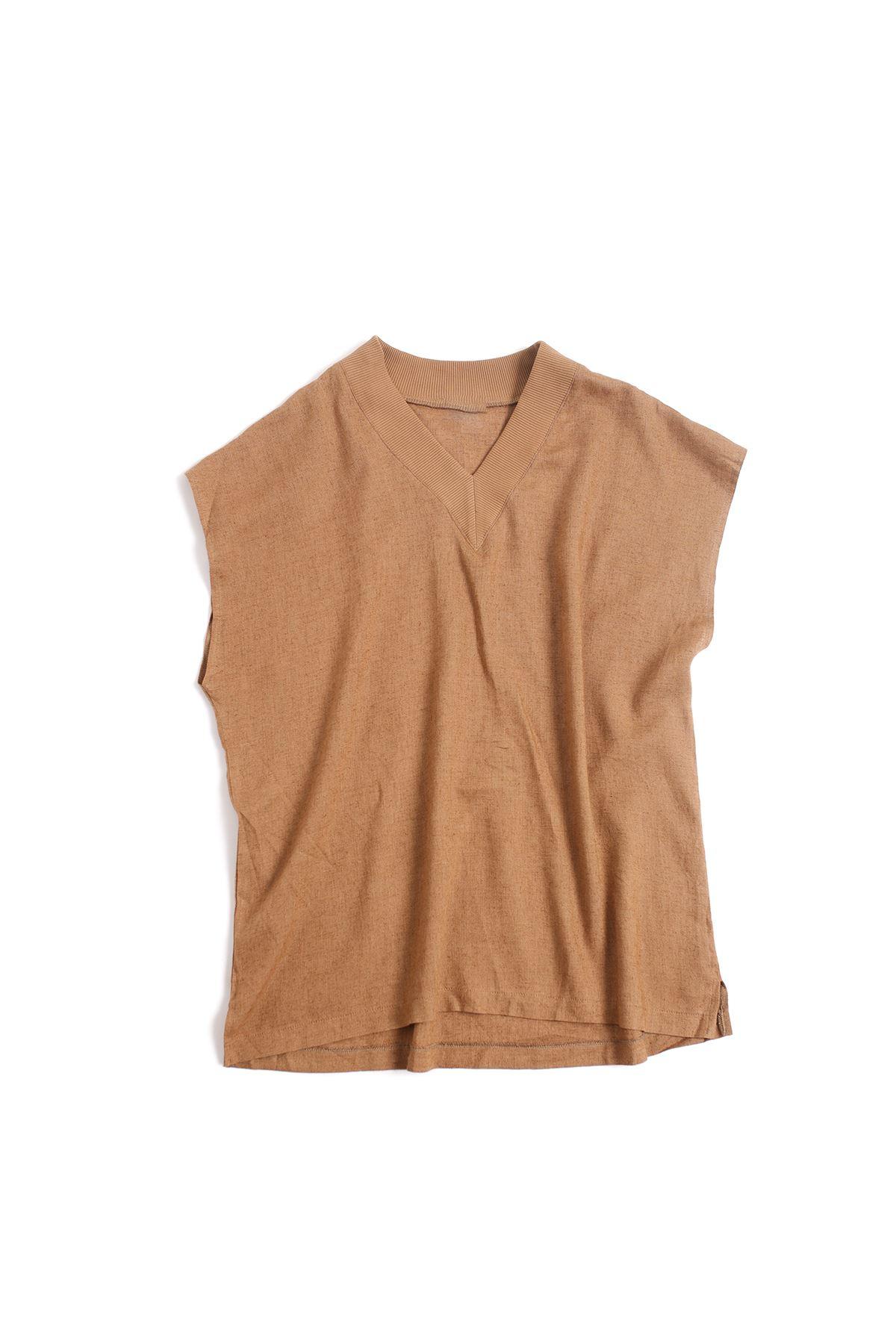 Oversize Vizon Keten Kolsuz T-Shirt