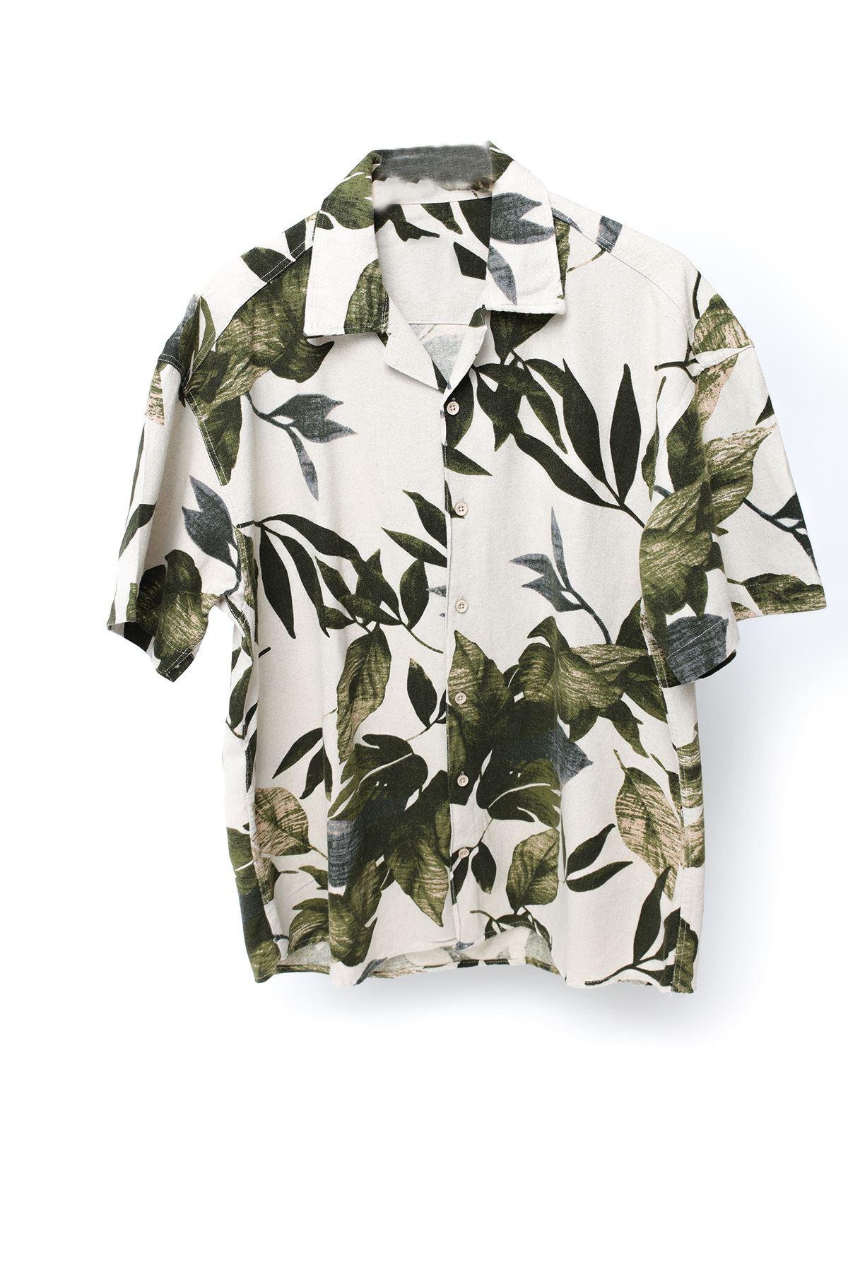 Yeşil Yaprak Desenli Kısa Kollu Keten Gömlek