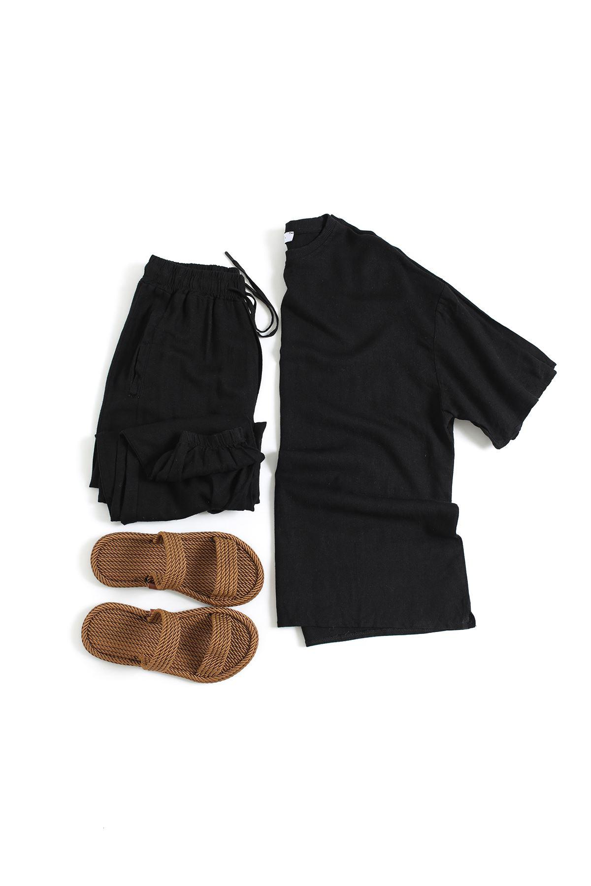 Siyah Keten T-Shirt Düz Paça Keten  joger Kombin
