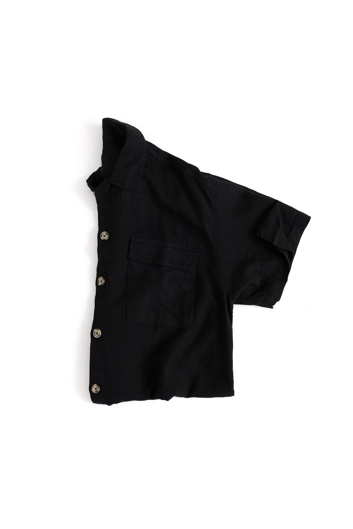 Kısa Kollu  Siyah Çift Cep Keten Gömlek