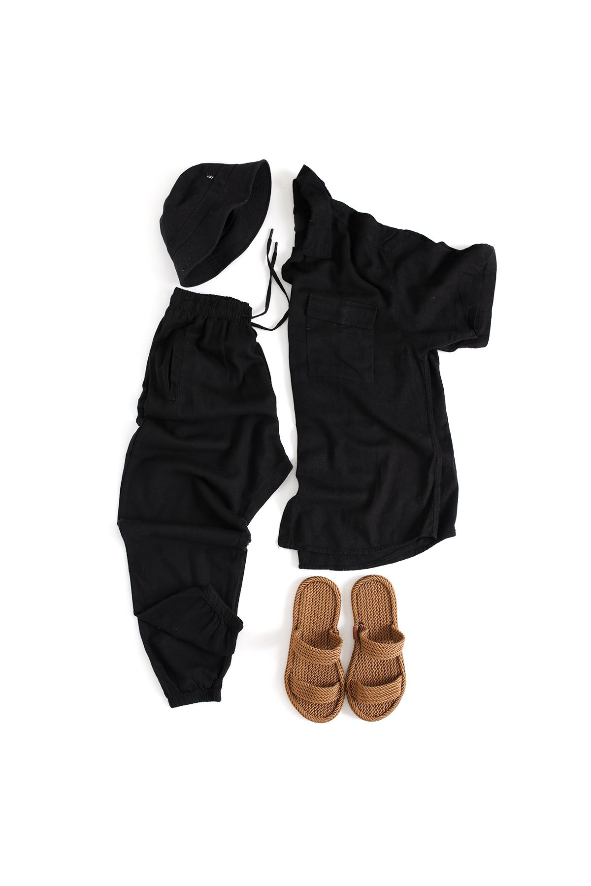 Çift Cepli Siyah Keten Gömlek Siyah Keten Jogger Kombin