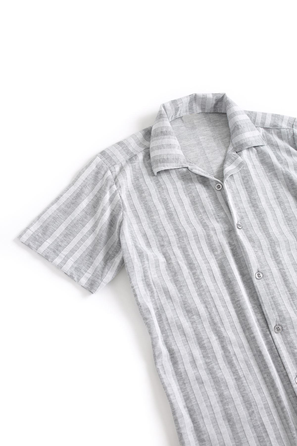 Beyaz Çizgili Gri Pamuklu Gömlek