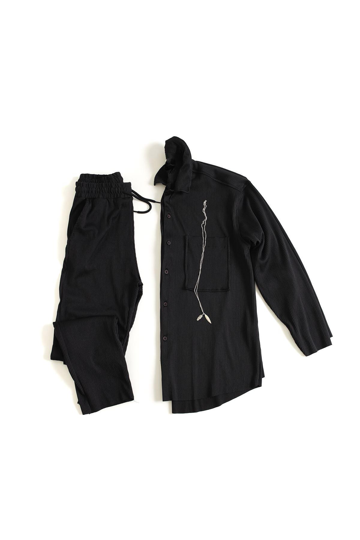Siyah Uzun Ottoman Üst-Alt Gömlek Kombin