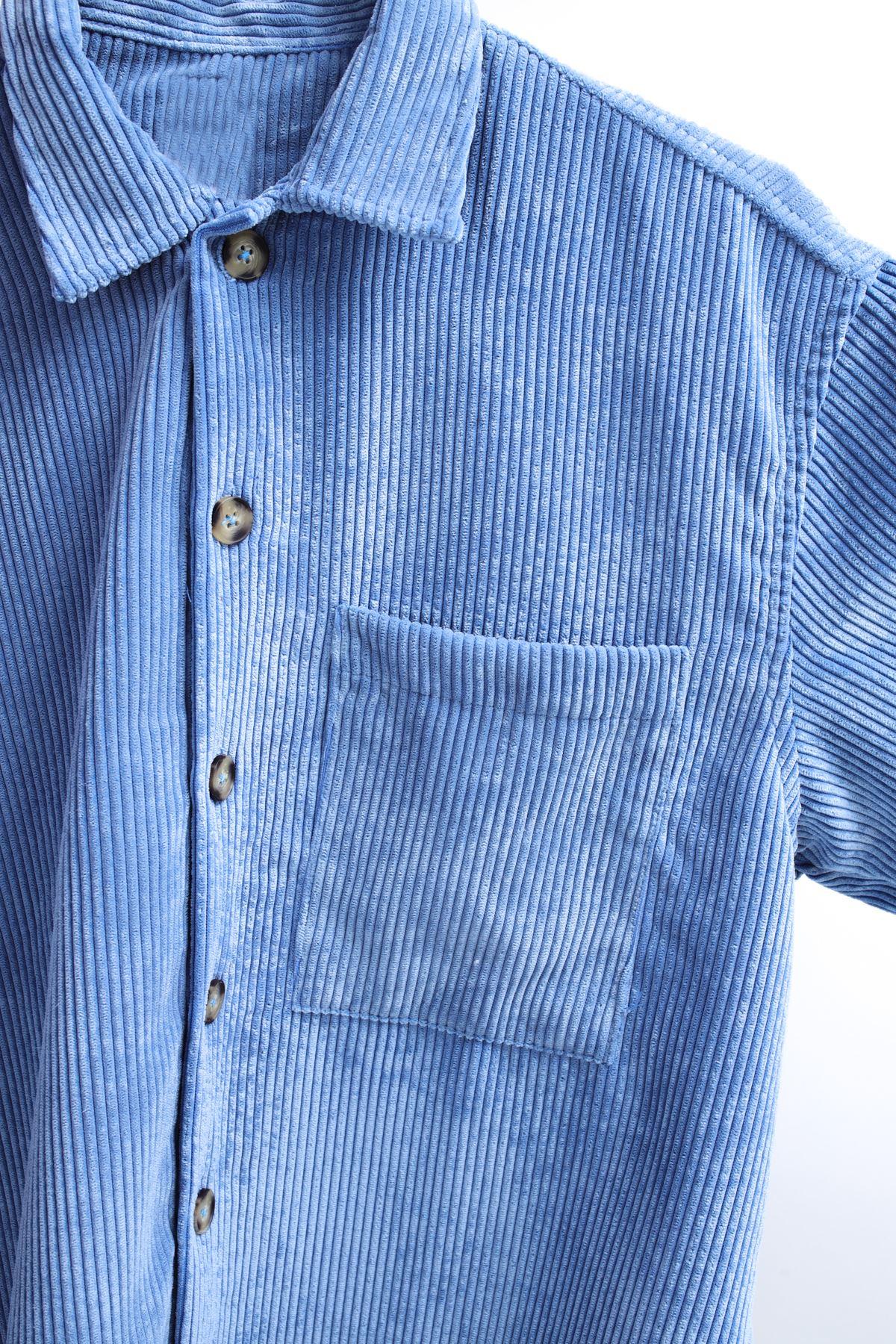 Mavi Kadife Gömlek