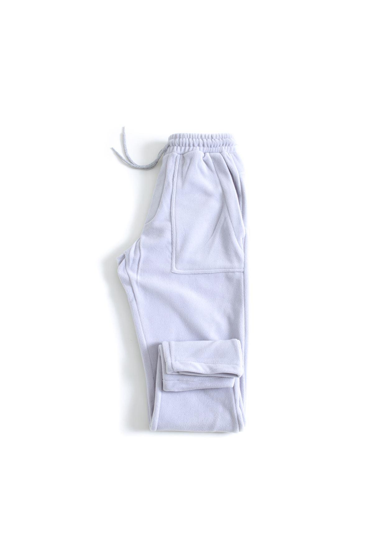 Açık Gri Polar Jogger Pantolon
