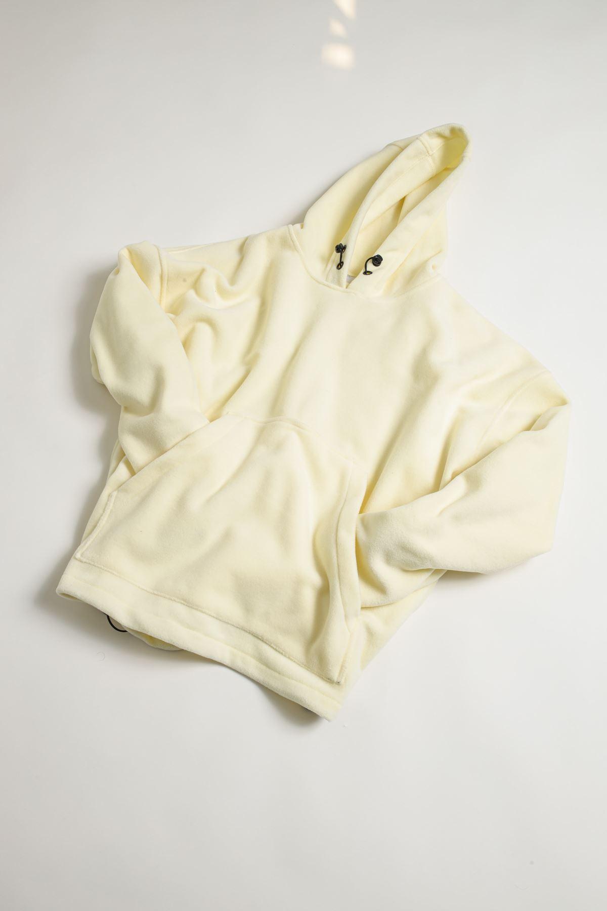 Kapüşonlu Sarı Polar Sweat