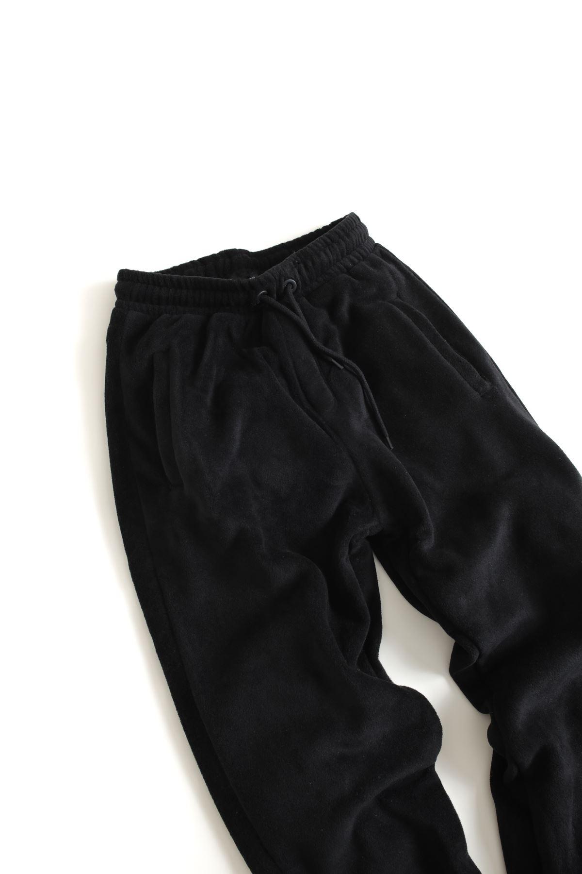 Siyah Polar Lastikli Paçalı Jogger Pantolon
