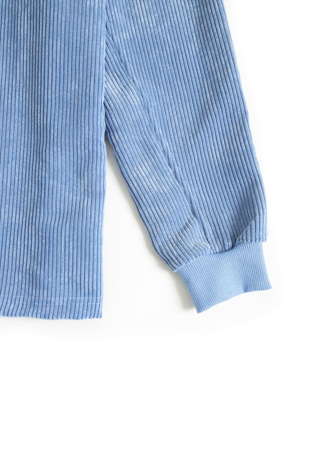 Mavi Kadife Baggy Sweat