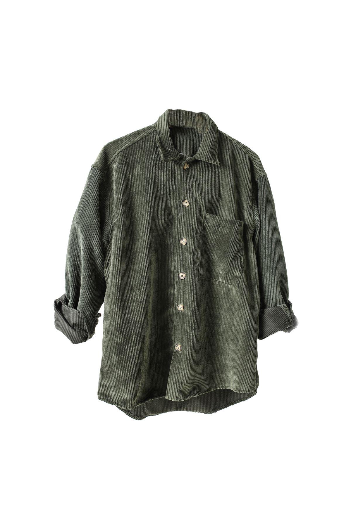 Haki Kadife Gömlek