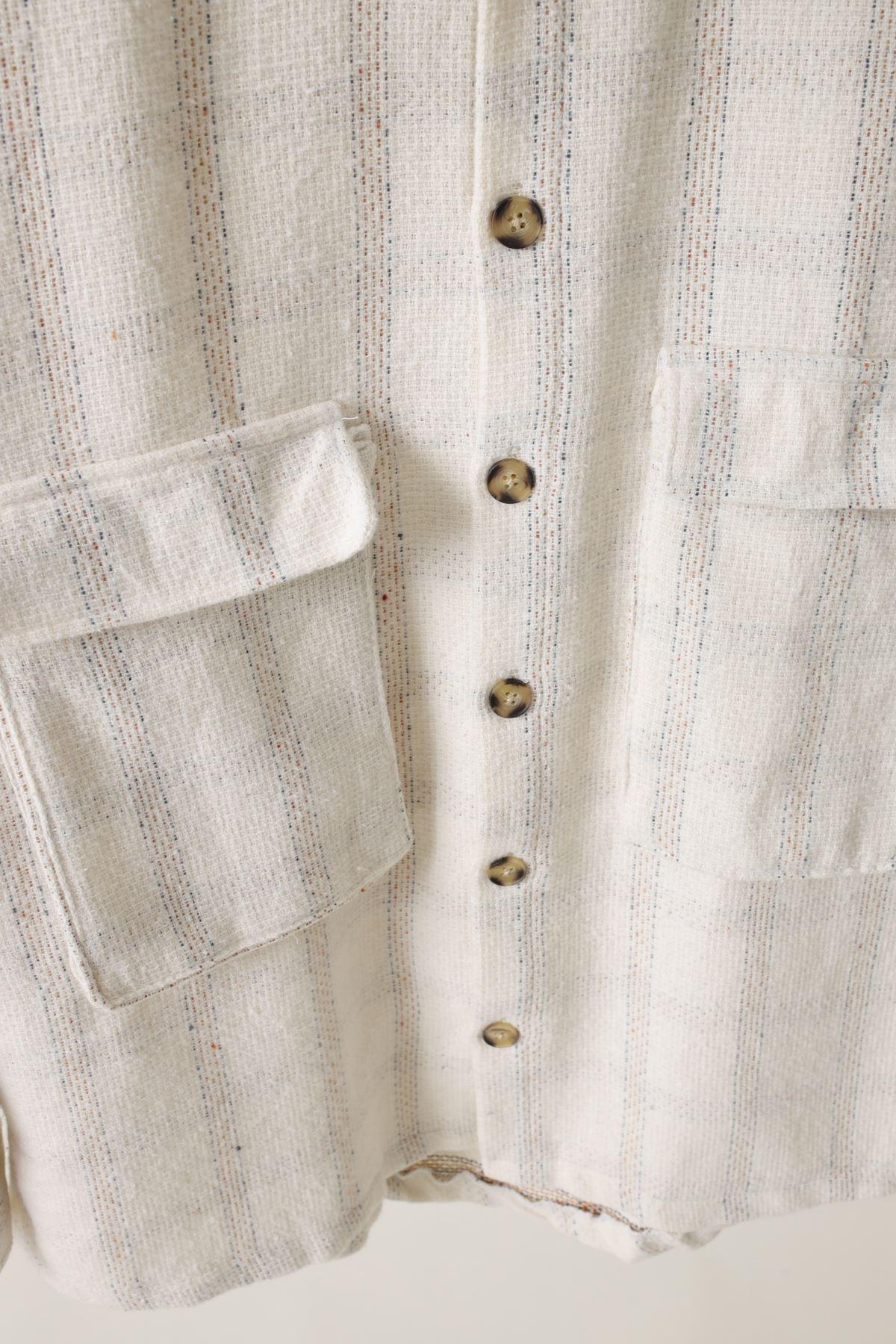 Bej Çift Cepli Pamuklu Oduncu Gömlek