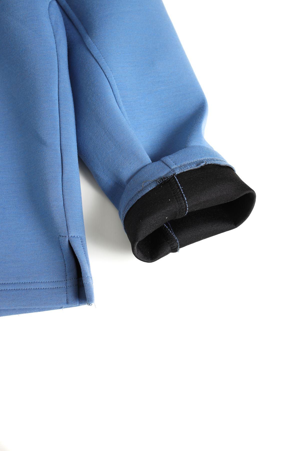 Mavi Kapüşonlu Scuba Sweat