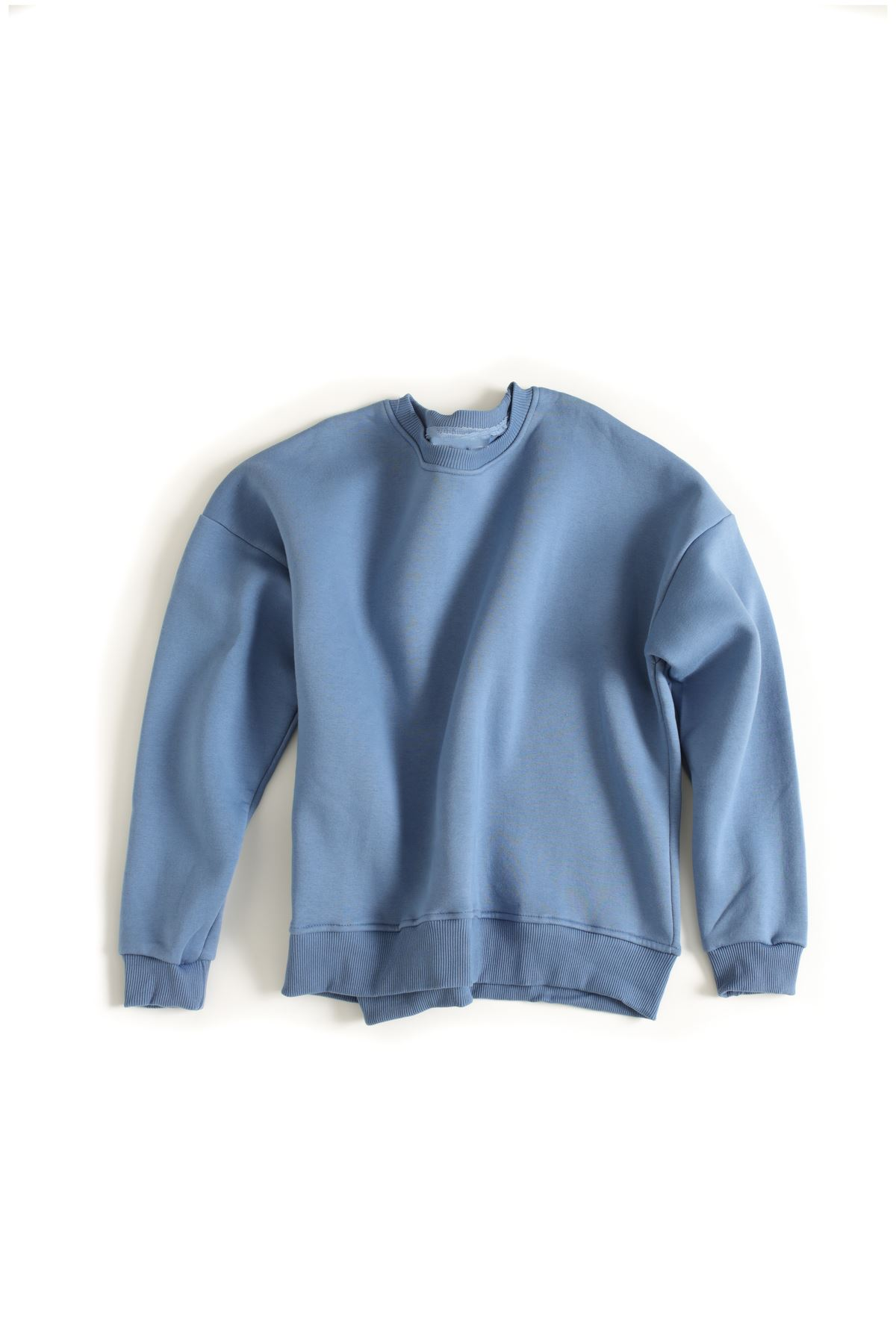 Oversize Mavi Basic Pamuklu Sweat