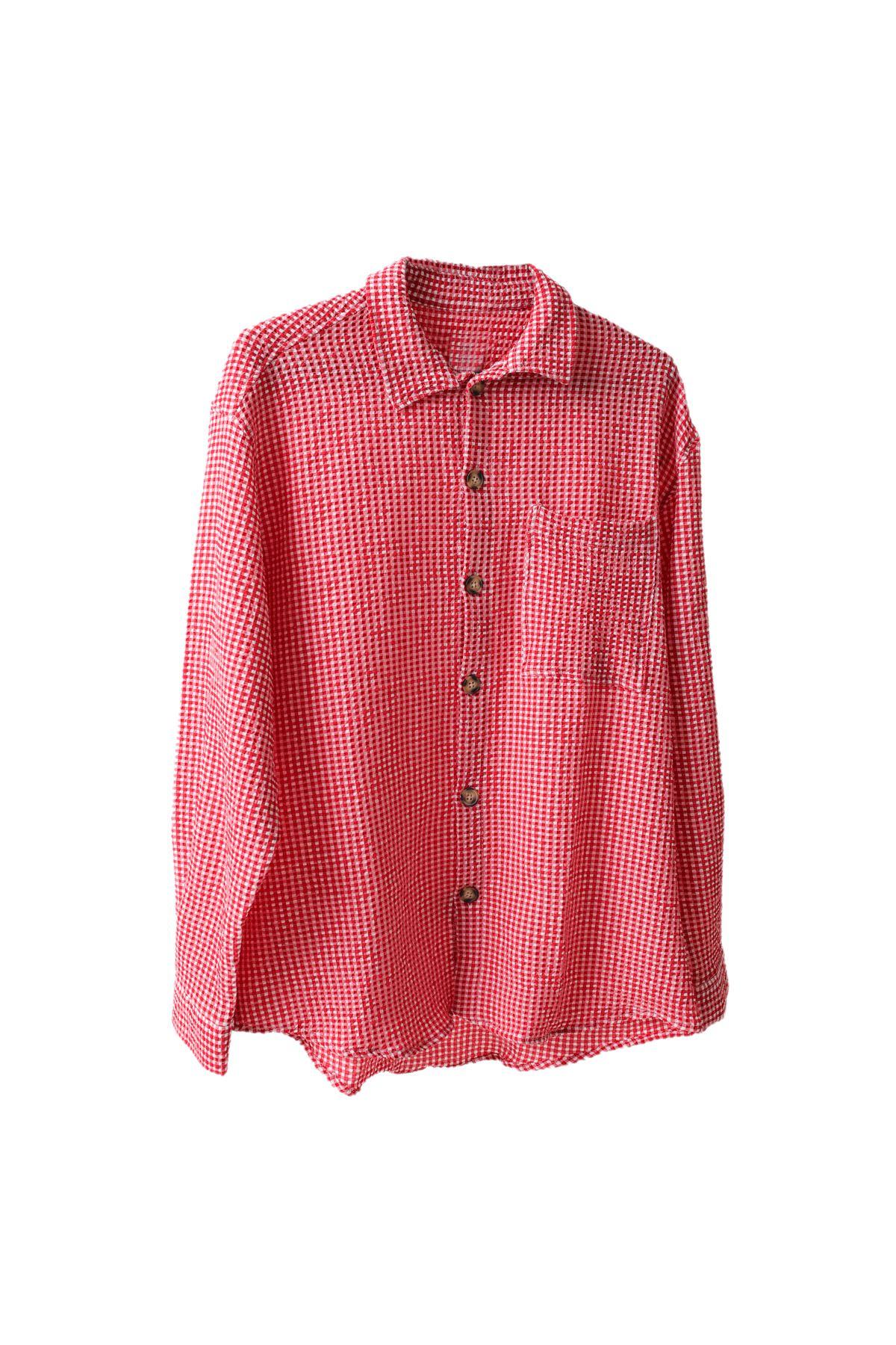 Kırmızı Gofre Gömlek