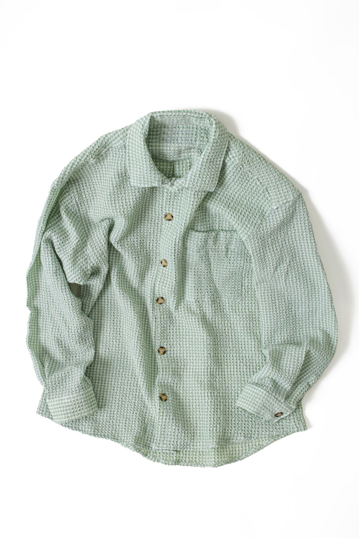 Yeşil Gofre Gömlek