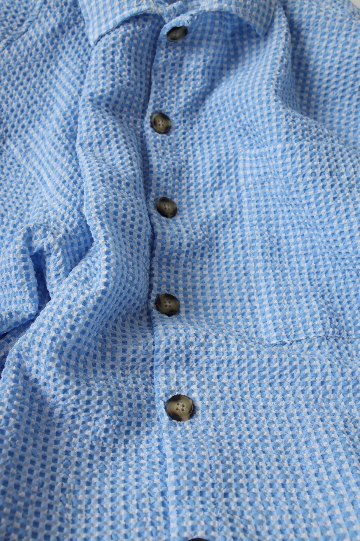 Mavi Gofre Gömlek