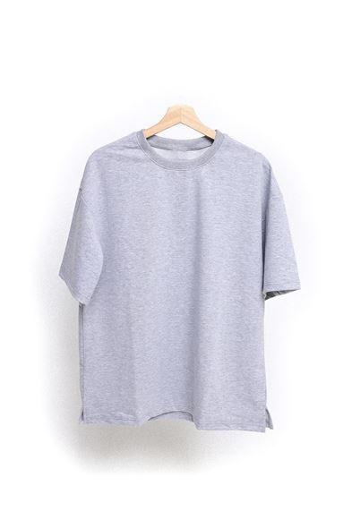 Gri Kalın Ribanalı T-Shirt