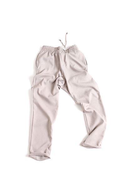 Düz Paça Çizgili Bej Klasik Jogger Pantolon