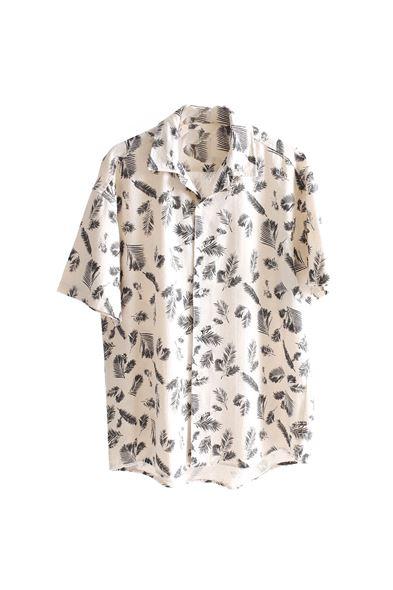 Siyah Palmiyeli Keten Gömlek