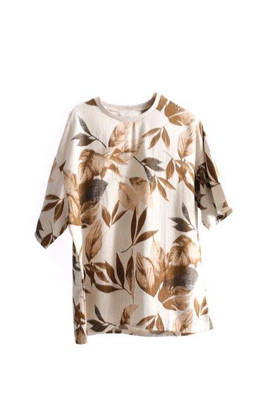 Kahve Yaprak Desenli Keten T-Shirt