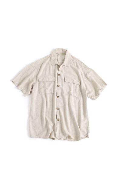 Kısa Kollu  Bej Çift Cep Keten Gömlek